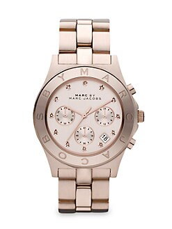 Marc by Marc Jacobs - Rose Goldtone Crystal Accented Chronograph Watch