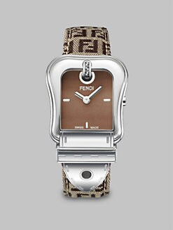 Fendi - Stainless Steel  Woven Leather Strap Watch