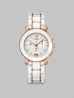 Fendi - Rose Goldtone Ceramic Chronograph Watch/White