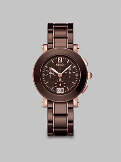 Fendi - Rose Goldtone Ceramic Chronograph Watch/Brown