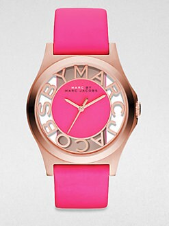 Marc by Marc Jacobs - Henry Skeleton Rose Gold-Finished Stainless Steel Strap Watch/Pink Strap