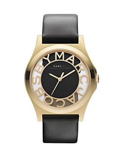 Marc by Marc Jacobs - Henry Skeleton Gold-Finished Stainless Steel Strap Watch/Black Strap