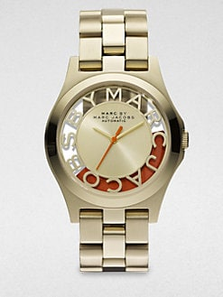 Marc by Marc Jacobs - Limited Edition Henry Skeleton Gold-Finished Stainless Steel Bracelet Watch/Orange