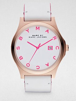 Marc by Marc Jacobs - Henry Rose Gold Finished Stainless Steel Strap Watch/White Strap