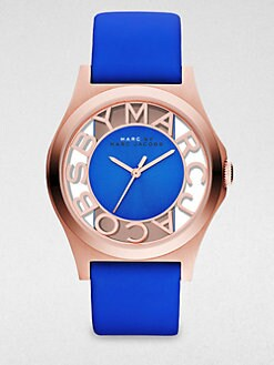 Marc by Marc Jacobs - Henry Skeleton Rose Gold-Finished Stainless Steel Strap Watch/Blue Strap