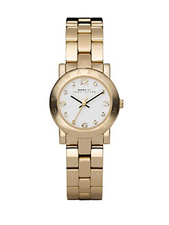 Marc by Marc Jacobs - Crystal Accented Stainless Steel Logo Watch/Goldtone