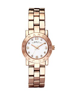Marc by Marc Jacobs - Crystal Accented Stainless Steel Logo Watch/Rose Goldtone