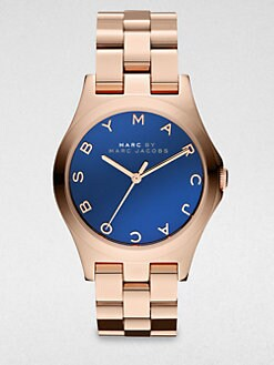 Marc by Marc Jacobs - Henry Rose Gold-Finished Stainless Steel Bracelet Watch/Blue Dial