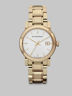 Burberry - Check Stamped Stainless Steel Watch/Goldtone