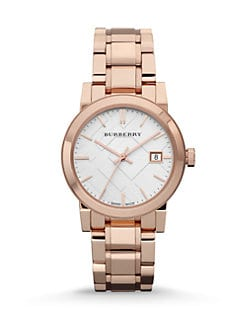 Burberry - Check Stamped Stainless Steel Watch/Rose Goldtone