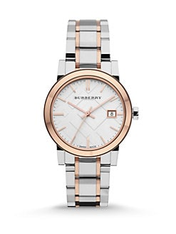 Burberry - Check Stamped Stainless Steel Watch/Two-Tone