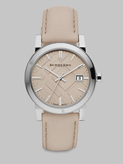 Burberry - Check Stamped Leather Strap Watch/Trench