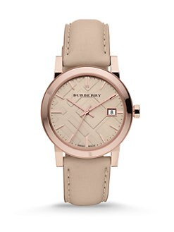 Burberry - Check Stamped Leather Strap Watch
