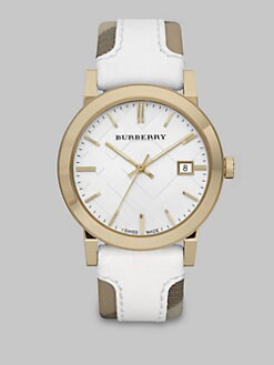 Burberry - Leather Accented Haymarket Check Watch
