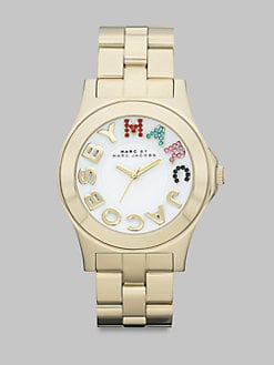 Marc by Marc Jacobs - Multi-Colored Crystal Accented Stainless Steel Watch/Goldtone Ion-Plated