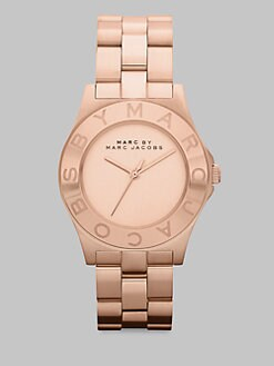 Marc by Marc Jacobs - Brushed Stainless Steel Logo Watch/Rose Goldtone