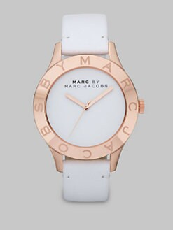 Marc by Marc Jacobs - Rose Goldtone Ion-Plated Logo Matte Leather Watch/White