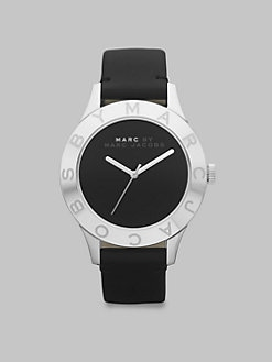 Marc by Marc Jacobs - Stainless Steel Logo Matte Leather Watch/Black