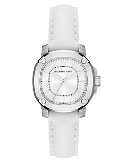 Burberry Britain - Stainless Steel & Leather Watch/White