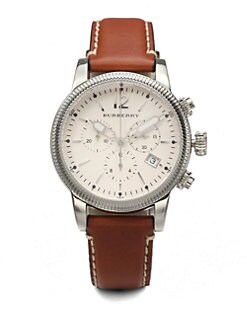 Burberry - Stainless Steel & Leather Chronograph Watch/Tan