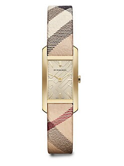 Burberry - Goldtone Stainless Steel Retangular Watch