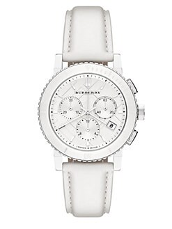 Burberry - Stainless Steel & Leather Chronograph Watch/White