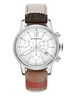 Burberry - Stainless Steel Chronograph Watch/Check Strap