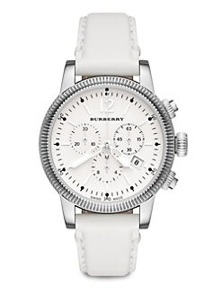 Burberry - Stainless Steel Chronograph Watch/White Strap
