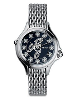 Fendi - Semi-Precious Multi-Stone, Diamond & Stainless Steel Watch/Black