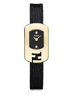 Fendi - Diamond & Goldtone Stainless Steel Watch/Black