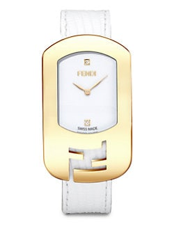 Fendi - Diamond & Goldtone Stainless Steel Watch/White