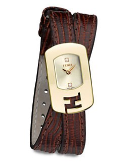Fendi - Diamond & Goldtone Stainless Steel Double-Wrap Watch