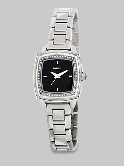 Breil - Swarovski Crystal Accented Square Stainless Steel Watch