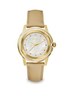 Breil - Goldtone Stainless Steel Leather Watch