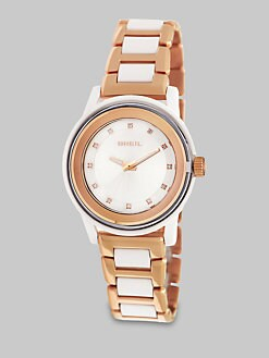 Breil - Swarovski Crystal Accented Rose Goldtone Stainless Steel Watch