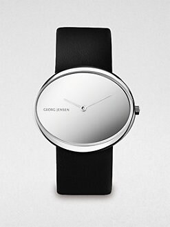 Georg Jensen - Stainless Steel & Leather Oval Watch