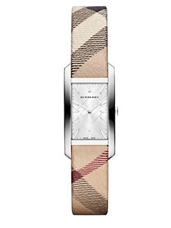 Burberry - Rectangular Stainless Steel Check Strap Watch