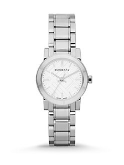 Burberry - Check Stamped Round Stainless Steel Watch/Silvertone