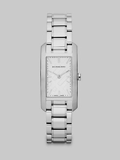 Burberry - Check Stamped Rectangular Stainless Steel Watch/Silvertone