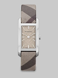 Burberry - Check Stamped Rectangular Stainless Steel Watch