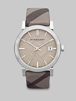 Burberry - Check Stamped Round Stainless Steel Watch/38MM