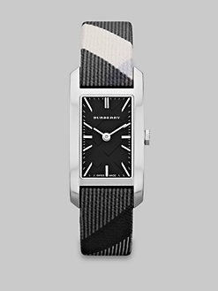Burberry - Rectangular Stainless Steel Beat Check Watch