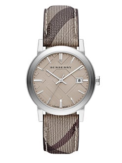 Burberry - Round Polished Stainless Steel Check-Strap Watch