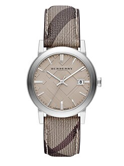 Burberry - Round Stainless Steel Checked Strap Watch