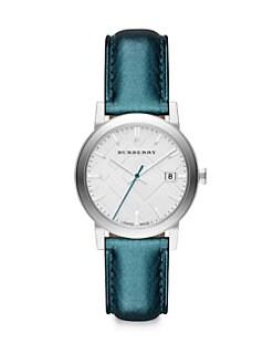 Burberry - Stainless Steel Metallic Leather Strap Watch/Blue
