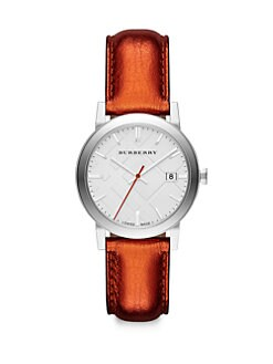 Burberry - Stainless Steel Metallic Leather Strap Watch/Tangerine