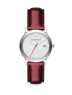 Burberry - Stainless Steel Metallic Leather Strap Watch/Burgundy