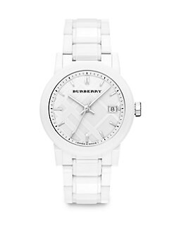 Burberry - White Ceramic and Stainless Steel Link Bracelet Watch