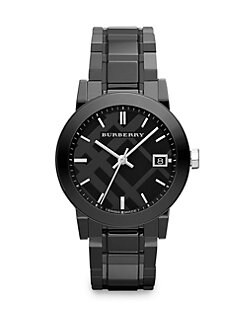 Burberry - Black Ceramic and Stainless Steel Link Bracelet Watch