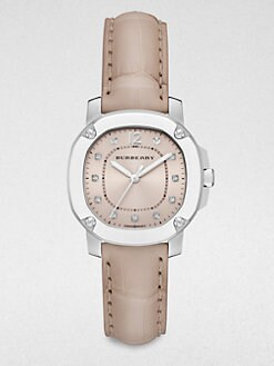 Burberry Britain - Stainless Steel and Diamond Strap Watch